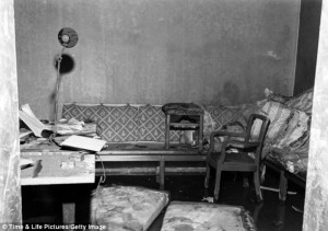 Hitler's Room inside the Bunker and the Sofa where he found Dead